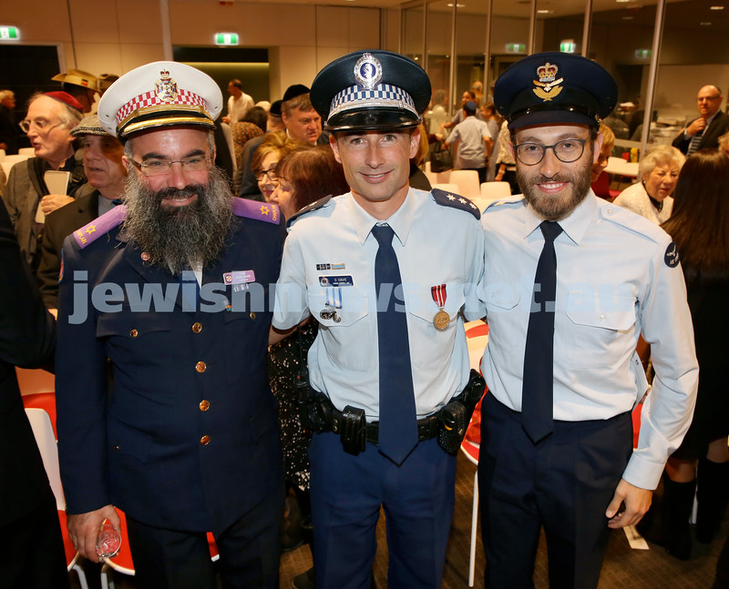 NAJEX ANZAC Day Service at SJM. (from left) Rabbi Dovid Slavin, Police Insp. Danny Davie, Rabbi Yossi Friedman. Pic Noel Kessel.