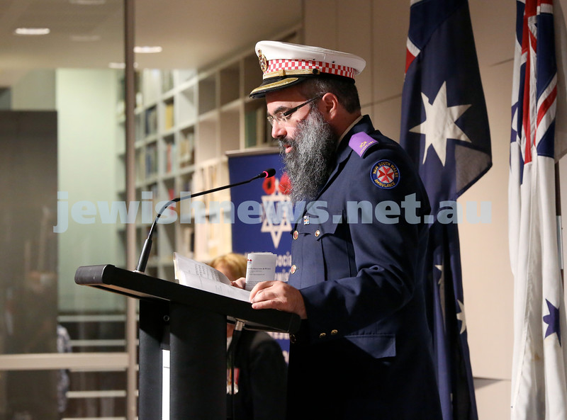 NAJEX ANZAC Day Ceremony at The SJM. Rabbi Dovid Slavin. Pic Noel Kessel.
