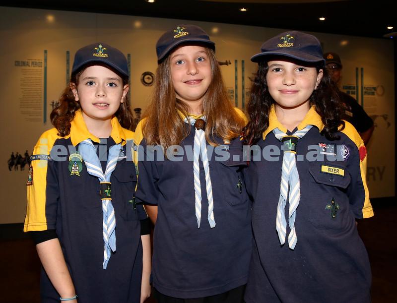 NAJEX ANZAC Day Ceremony at The SJM. (from left) Liorah Kessel, Emily Scharrmacher, Orli Jacoby. Pic Noel Kessel.