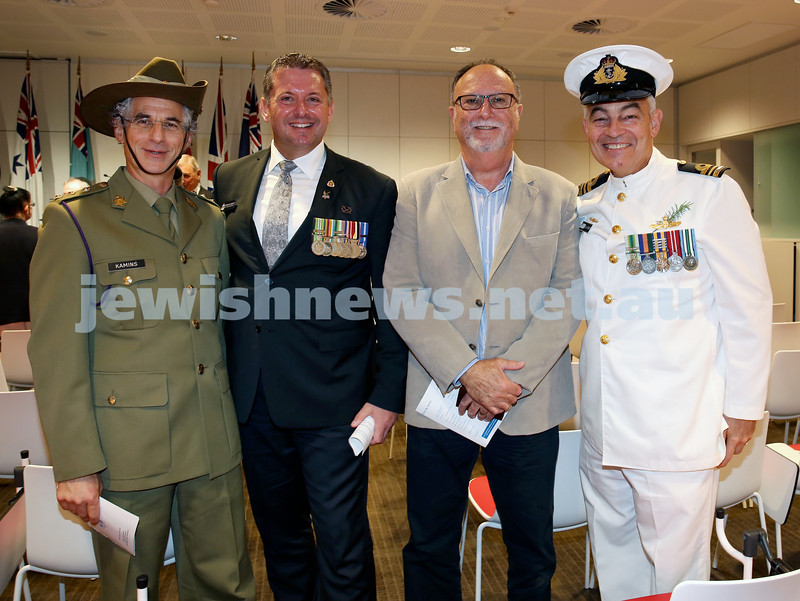 NAJEX ANZAC Day Service at SJM. (from left) Rabbi Jeffrey Kammins, Glenn Kolomeitz, Trevor Collins, LCDR Paul Koerber. Pic Noel Kessel.