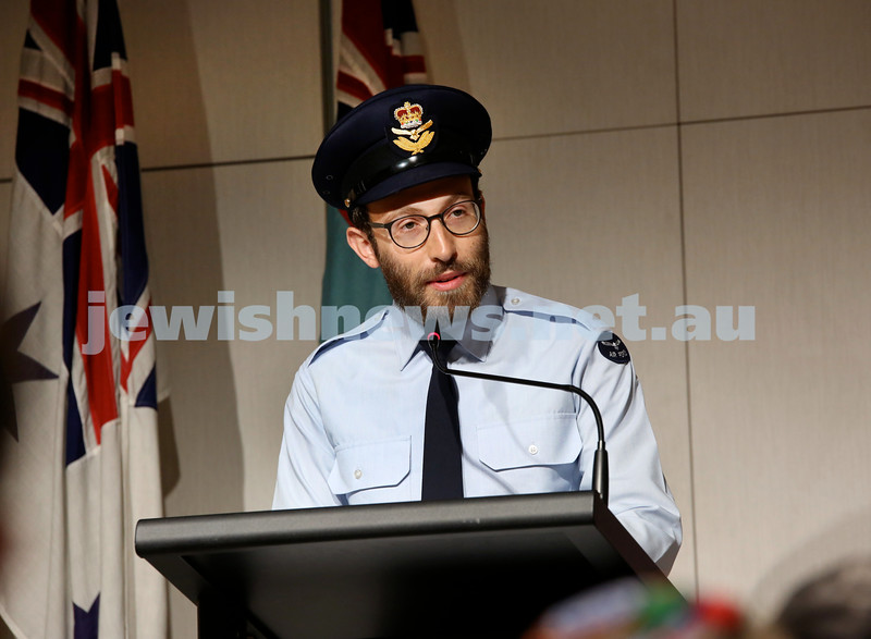 NAJEX ANZAC Day Ceremony at The SJM. Rabbi Yossi Friedman. Pic Noel Kessel.