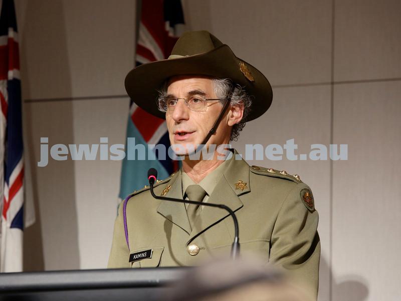 NAJEX ANZAC Day Ceremony at The SJM. Rabbi Jeffrey Kamins. Pic Noel Kessel.