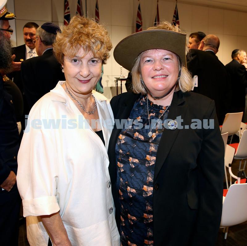 NAJEX ANZAC Day Ceremony at The SJM. Debbie Sleigh (left) & Lorraine Harvey. Pic Noel Kessel.