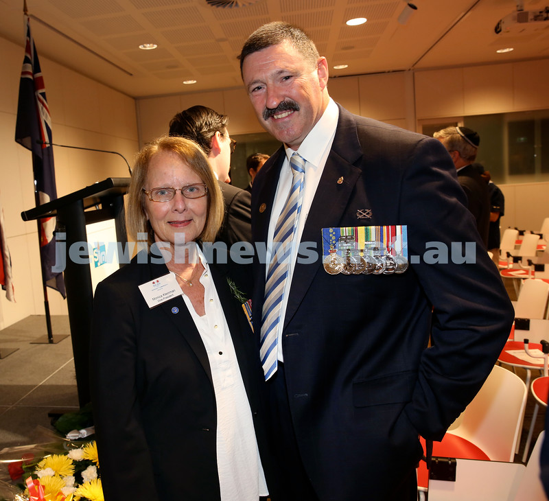 NAJEX ANZAC Day Service at SJM. Monica Kleinman & Colonel Michael Kelly AM (Retd) . Pic Noel Kessel