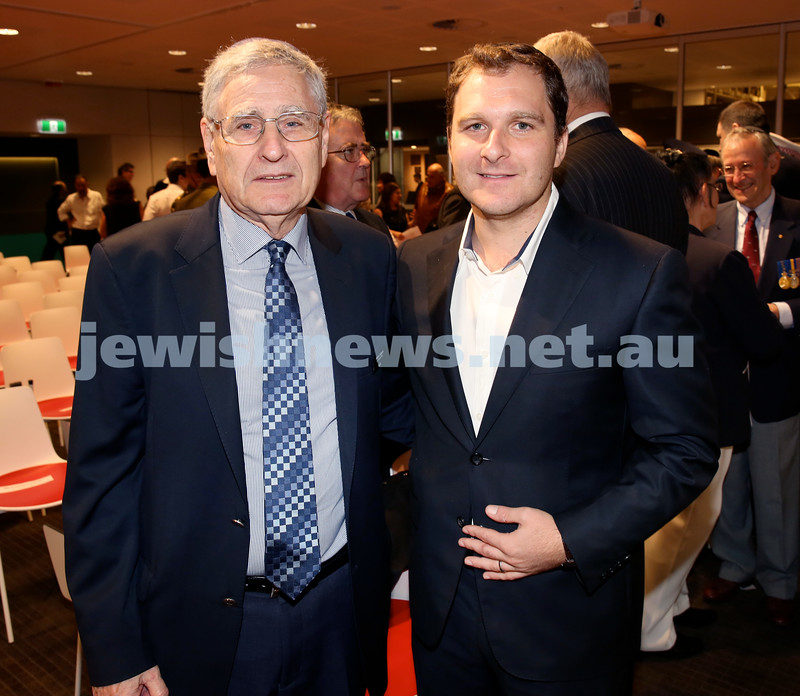 NAJEX ANZAC Day Service at SJM. Norm Seligman (left) & Jeremy Spinak. Pic Noel Kessel.