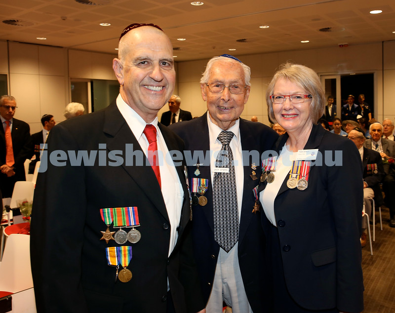 NAJEX ANZAC Day Service at SJM. (from left) Norman Isenberg, Jack Stern, Naida Isenberg. Pic Noel Kessel.