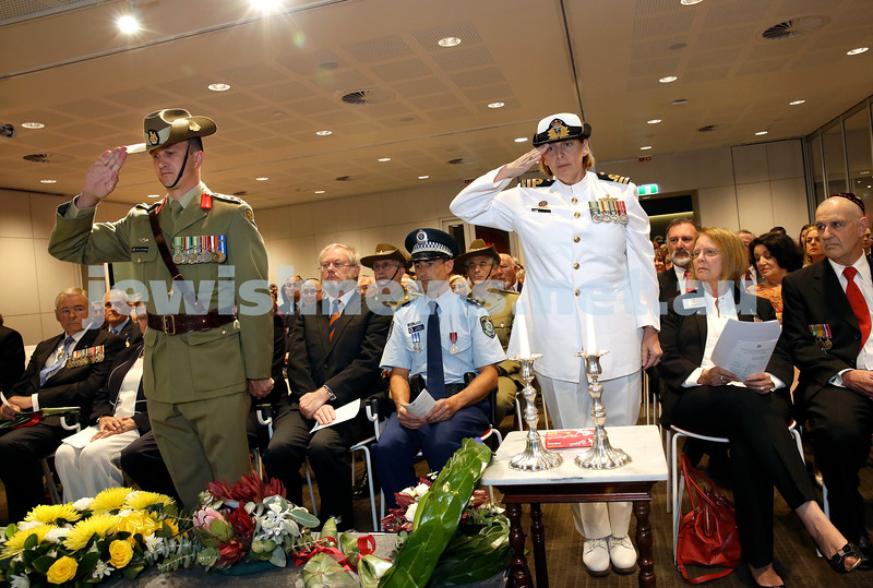NAJEX ANZAC Day Ceremony at The SJM. Wreath Laying - Colonel Darcy Rawlinson & Commander Rebecca Jesscoat.  Pic Noel Kessel.