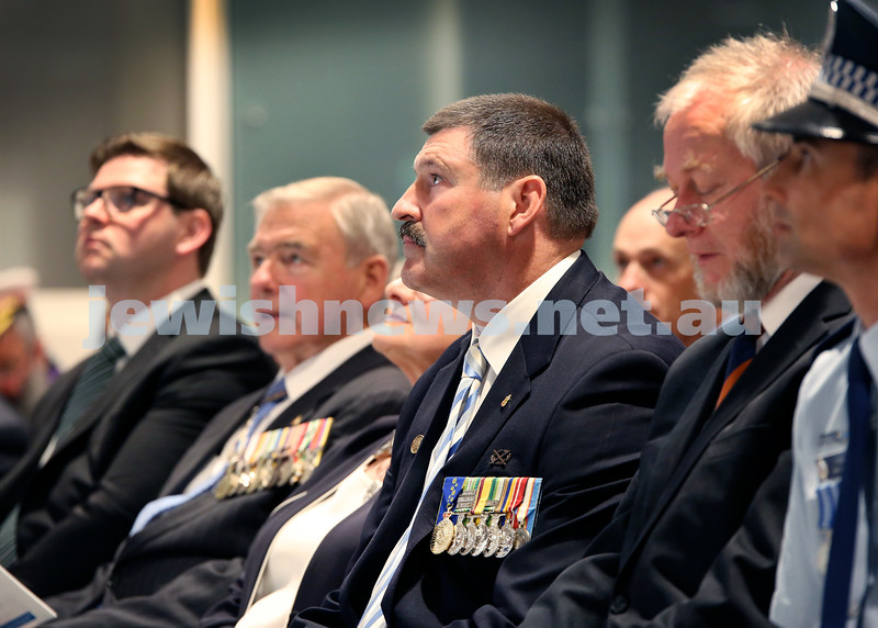 NAJEX ANZAC Day Ceremony at The SJM. Guest Speaker Colonel Michael Kelly AM (Retd) in middle. Pic Noel Kessel.