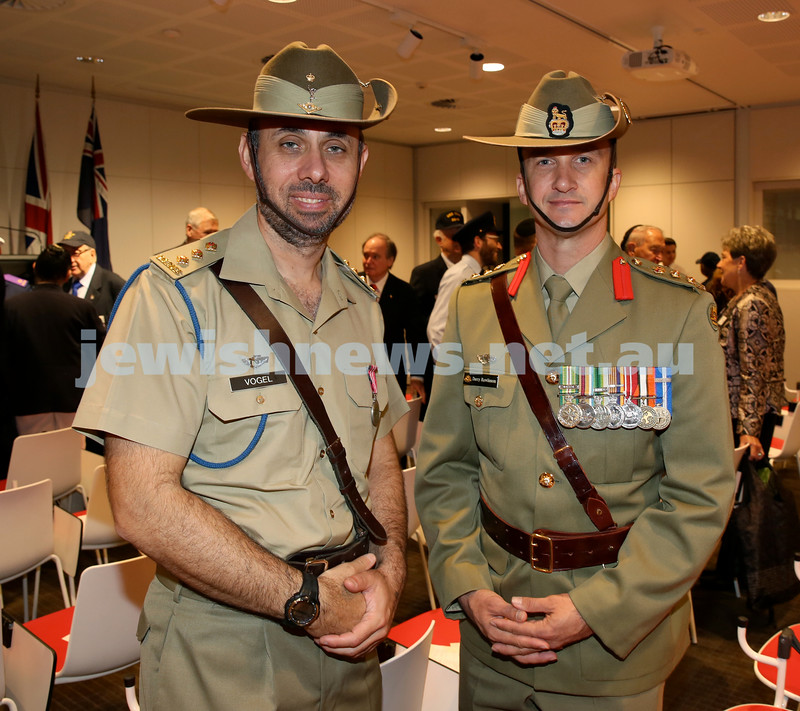NAJEX ANZAC Day Service at SJM. Captain Stephen Vogel and Lieutenant Colonel Darcy Rawlinson. Pic Noel Kessel.