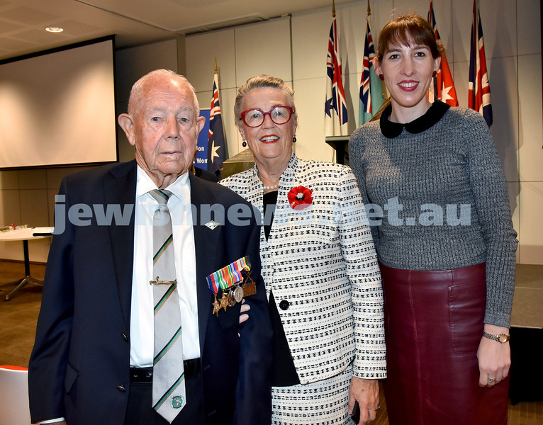 NAJEX Communal Wreath Laying and Remembrance Day Service at SJM. From Left: Kokoda Veteran Reg Chard, Rhonda Vanzella, Alexandra McCosker. Pic Noel Kessel