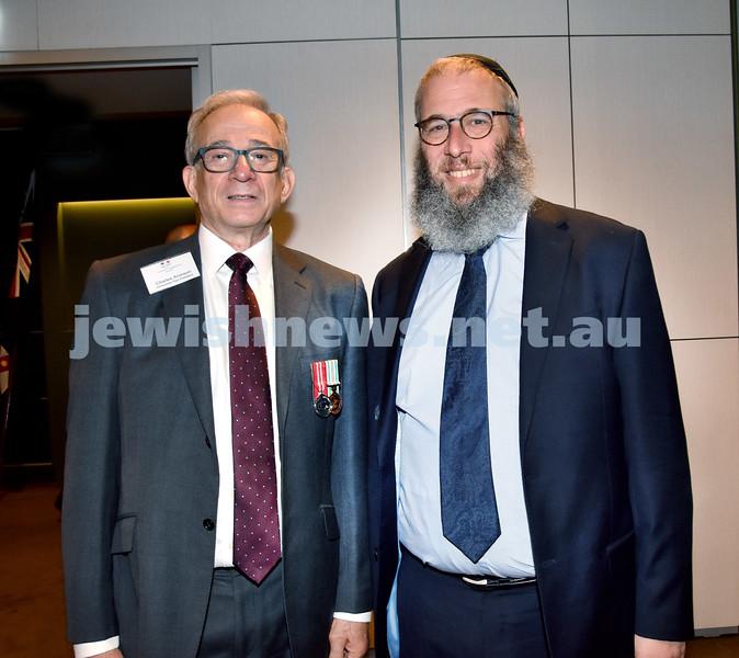 NAJEX Communal Wreath Laying and Remembrance Day Service at SJM. Chrles Aronson (left), Rabbi Mendel Kastel. Pic Noel Kessel