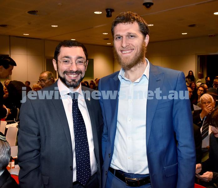 NAJEX Communal Wreath Laying and Remembrance Day Service at SJM. Rabbi Dr.Ben Elton (left), Rabbi Chaim Koncepolski. Pic Noel Kessel