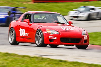 David Proudfoot wheels his immaculate Honda S2000 through Madness during a Time Trials session at the NASA Great Lakes 2011 season opener at Mid-Ohio, April 2011. Proudfoot dominated TTC all weekend.