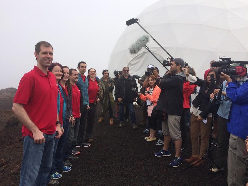 The HI SEAS 4 Mission crew exits the Mars habitat, August 2016