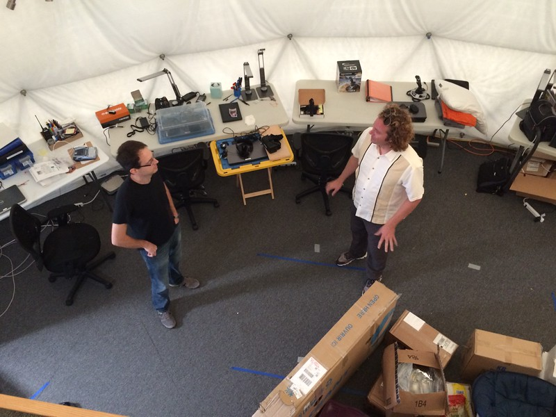 Support crew chatting during the ANSIBLE set up for the HI SEAS Mars Habitat.