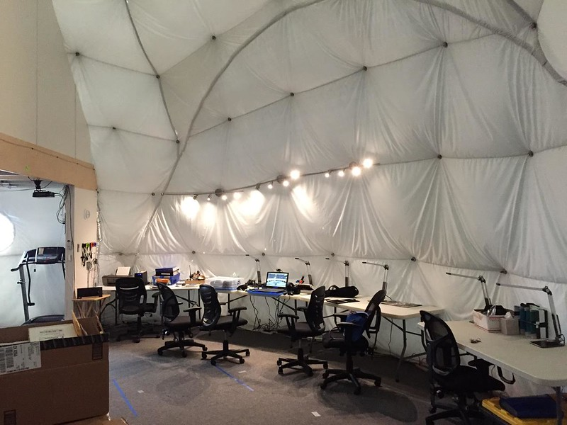 Inside the physical Mars Habitat at HI SEAS, Mauna Loa Mt, Hawaii.