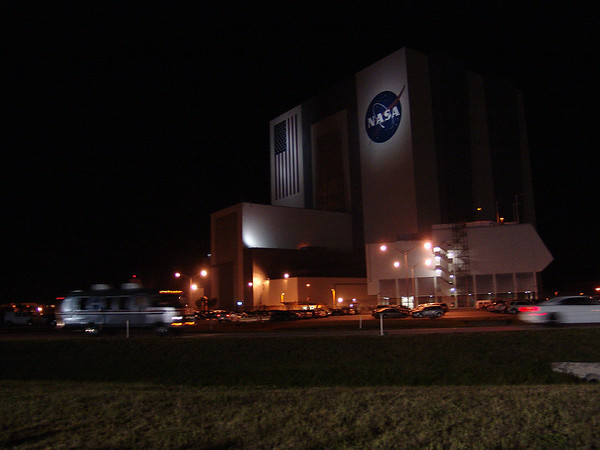 The Astron Van streaks by with the Endeavour astronauts inside on the way to the launchpad.  -- May 16, 2011