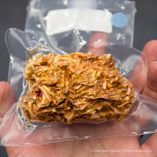 Space food: Dehydrated spaghetti and meat sauce at #ISS1Year NASA Social at JSC