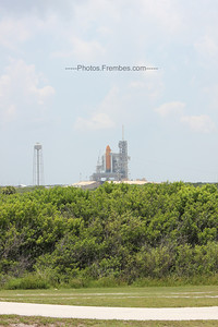 View of Shuttle Atlantis on the launch pad from the LC-39 Viewing Gantry.  - June 2011