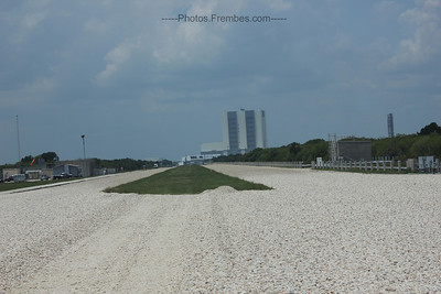 Crawler tracks in the gravel. The shuttle is transported via Crawler from the VAB to the launch pad (max. speed is 1 mph) - June 2011