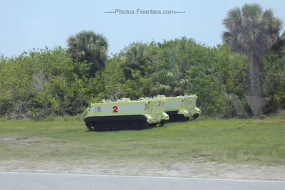 Armored Personnel Carrier (APC) that is used by the astronauts to evacuate the launch pad in the event of an emergency. According to our tour guide, each astro is trained that the first person to reach it is the driver so they are all trained to operate an APC.