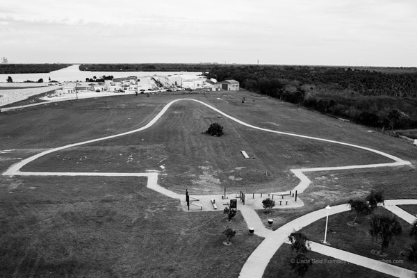 On the grounds of KSC, this walking loop is shaped like a space shuttle.