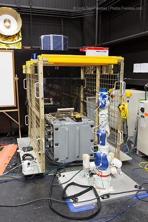 A test rig for NASA's Robotic Refueling Mission, which aims to refuel satellites while in orbit.