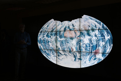 We were shown some amazing data visualization on NASA's Hyperwall. At right (in the dark), is Compton Tucker of NASA Goddard's Earth Sciences division.