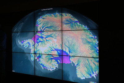 Ice flows in Antarctica on NASA's Hyperwall.