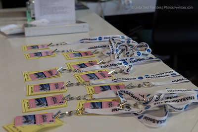 #NASAsocial badges are ready for their owners at the Goddard Space Flight Center. The badges are pink in honor of the cherry blossom.