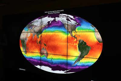 Rising sea surface temperatures on NASA's Hyperwall.