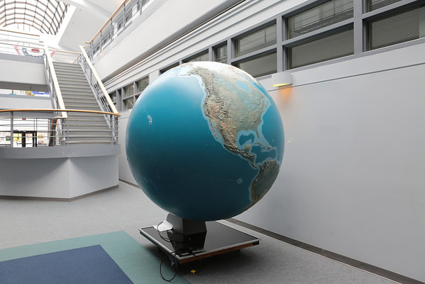 "Walking into Goddard Building 28 for the lunch break, I saw this giant globe. I thought, ""Man, I wish I worked in a place where I see things like this in the lobby."""
