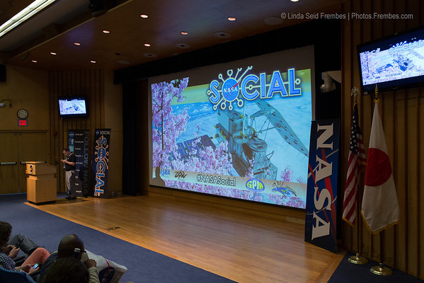 The Goddard Building 3 auditorium stage is set for the live NASA TV broadcast of the #NASAsocial presentation.