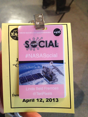 iPhone photo of my @NASA_Rain #NASAsocial badge. It's pink in honor of the cherry blossoms.