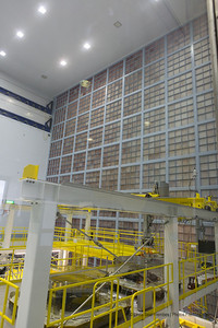 The James Webb Space Telescope is being assembled in this clean room, the largest in the world. The far right wall consists of microshutters, which are HEPA filters designed to filter out every speck of dust in the room.