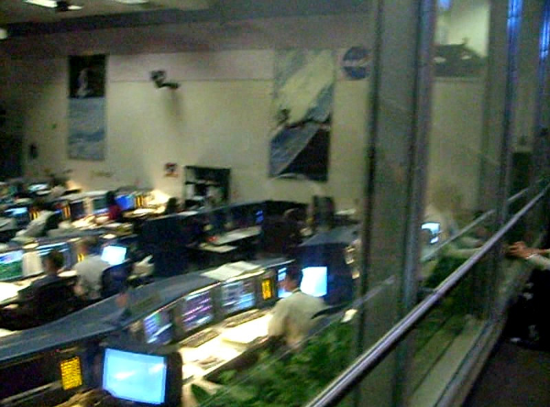 STS-129 Landing from viewing room behind the Shuttle Flight Control Room (FCR) in Mission Control Center (MCC)