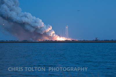 White hot fire on or near launch pad