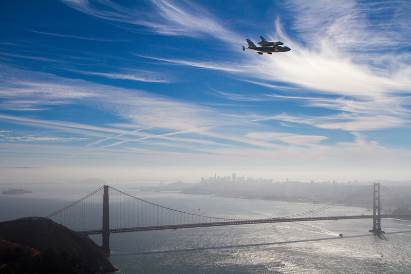 Endeavour over the Golden Gate Bridge