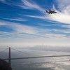Endeavour over the Golden Gate Bridge