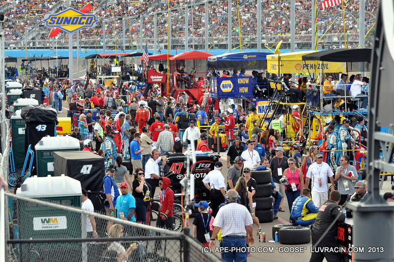 REAR OF THE PIT BOXES! STANDS ARE FULL