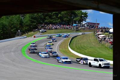 Chevrolet Silverado 250 pace lap thorugh CTMP's Clayton Corner.