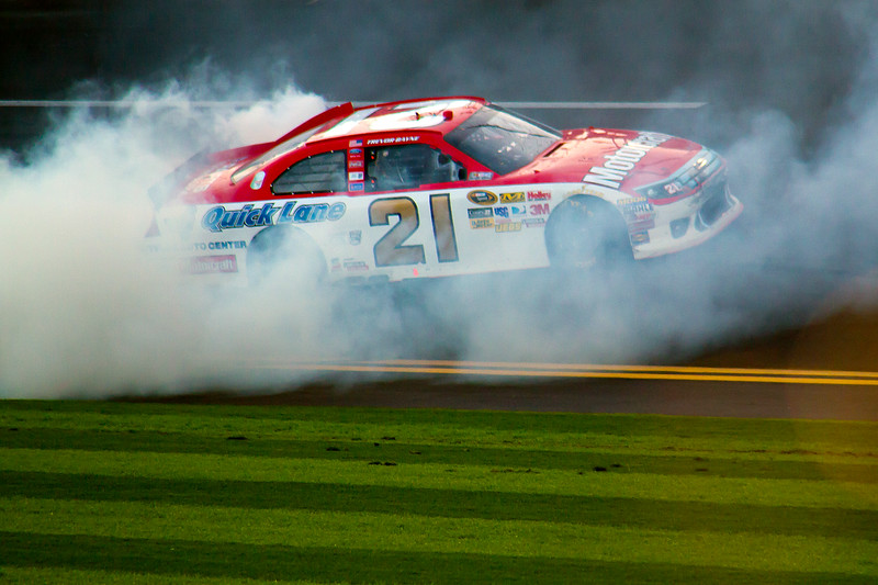 2011 Daytona 500 Winner Trevor Bayne doing a burnout after crossing the finish line.