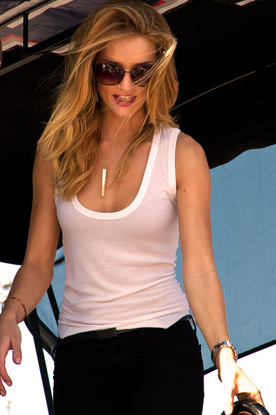 2011 Daytona 500 Grand Marshall Rosie Huntington-Whiteley leaving Jimmie Johnson's pit.