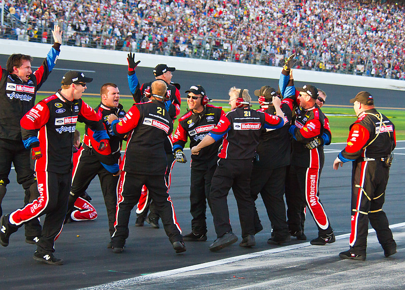 Wood Brothers Racing Celebrating on Pit Road after Trevor Bayne daytona 500 Win