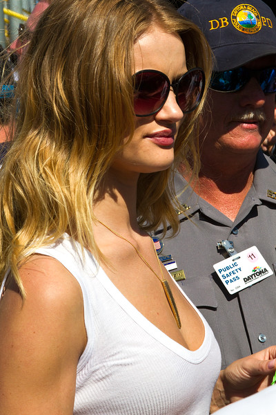 DBPD keeps an eye on Grand Marshall Rosie Huntington-Whiteley during the 2011 Daytona 500.
