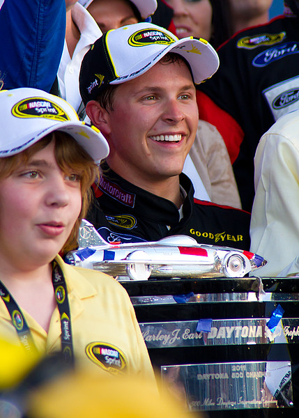 Trevor Celebrating with Family and Friends in Victory Lane after Daytona 500 Win