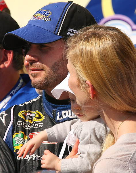 Jimmie Johnson Chandra and Genevieve Marie Victory Lane Talladega Aaron's 499