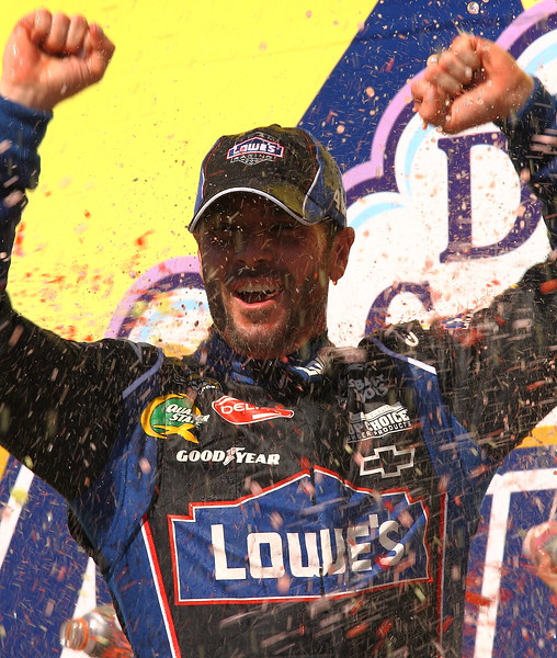 Jimmie Johnson celebrates Aaron's 499 Victory Talladega