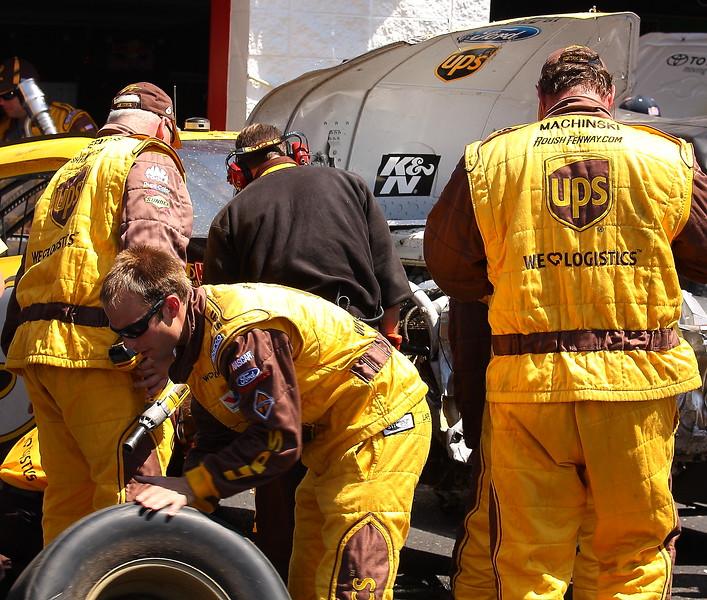Garage work on the David Ragan No 6 UPS car after crash at Talladega