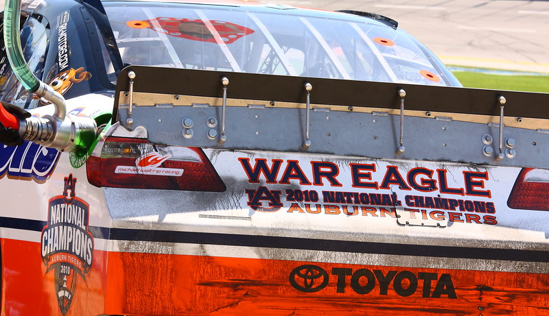 Michael Waltrip Auburn Tigers Championship Toyota in the pit at Talladega